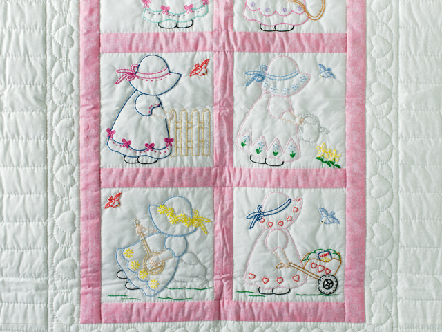 Pink and White Hand Embroidered Crib Quilt Photo 3