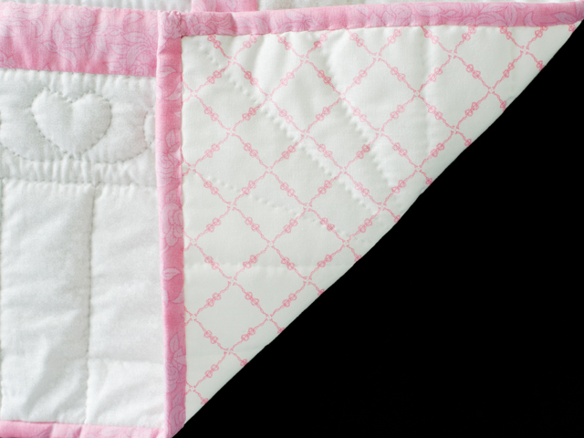Pink and White Hand Embroidered Crib Quilt Photo 5