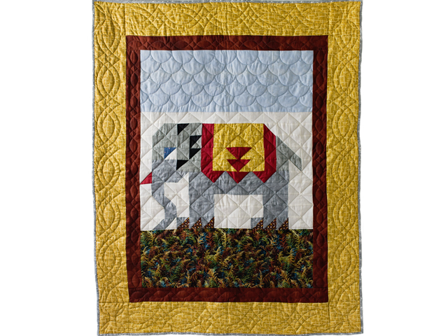 Gray and Gold Delightful Elephant Quilt Photo 1