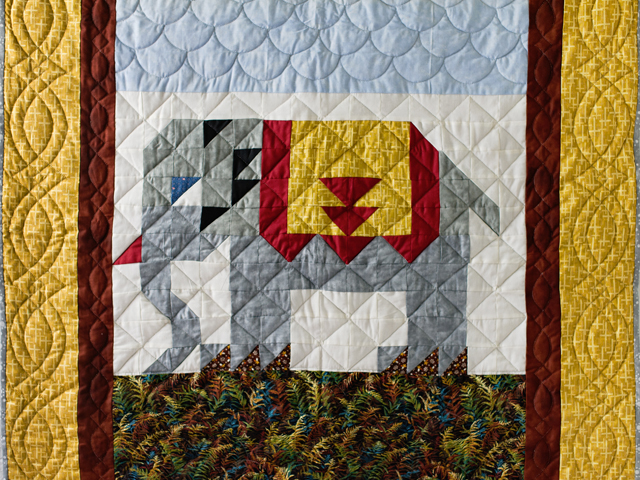 Gray and Gold Delightful Elephant Quilt Photo 2