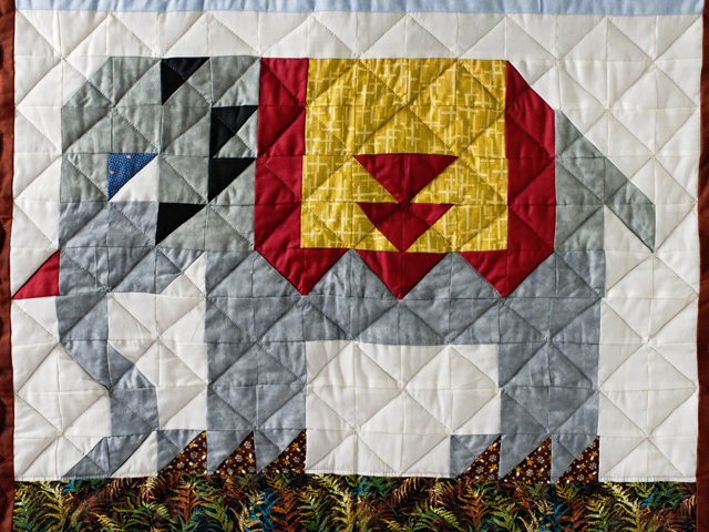 Gray and Gold Delightful Elephant Quilt Photo 3