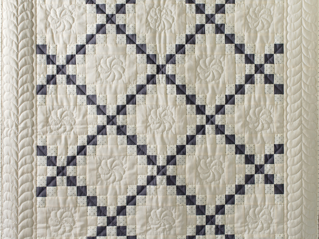 Natural and Gray Irish Chain Quilt Photo 2