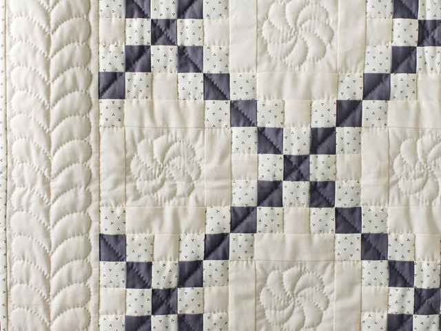 Natural and Gray Irish Chain Quilt Photo 4