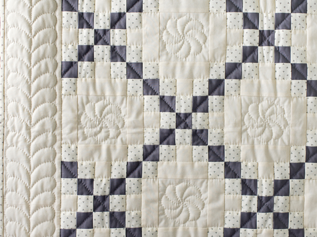 Natural and Gray Irish Chain Quilt Photo 5