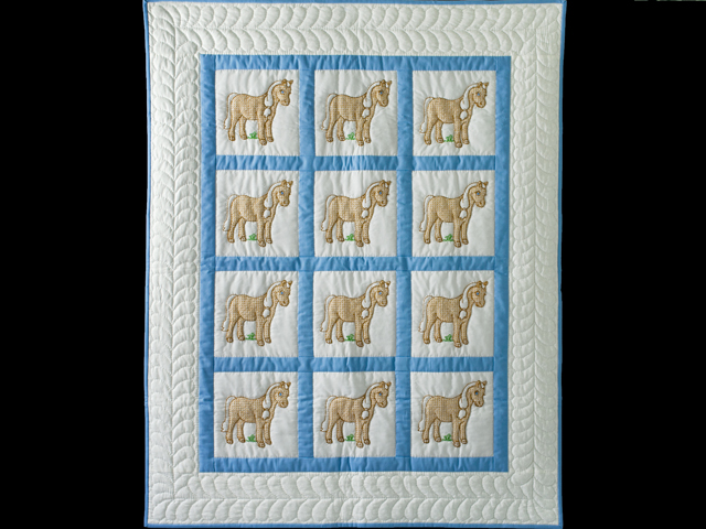 Hand Embroidered Ponies Crib Quilt Photo 1