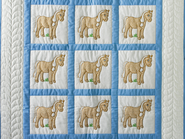 Hand Embroidered Ponies Crib Quilt Photo 2