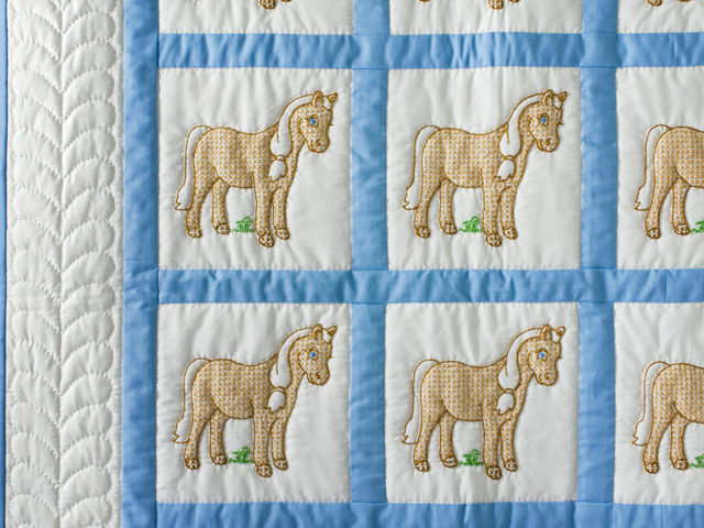 Hand Embroidered Ponies Crib Quilt Photo 3