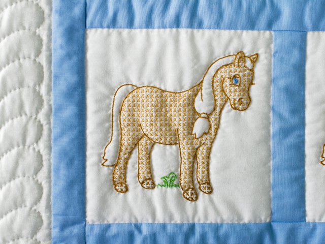 Hand Embroidered Ponies Crib Quilt Photo 4