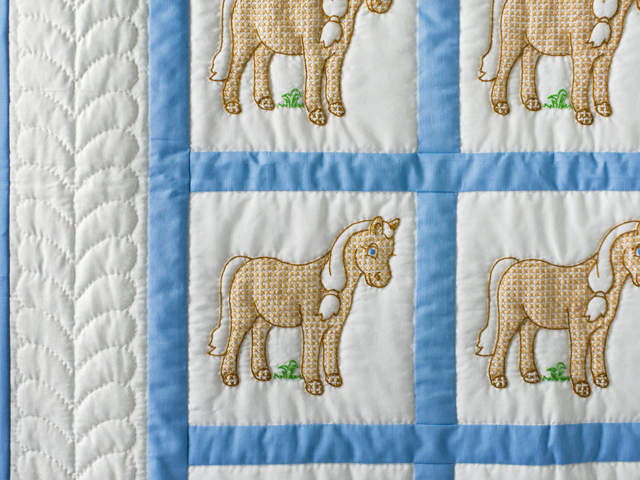 Hand Embroidered Ponies Crib Quilt Photo 5
