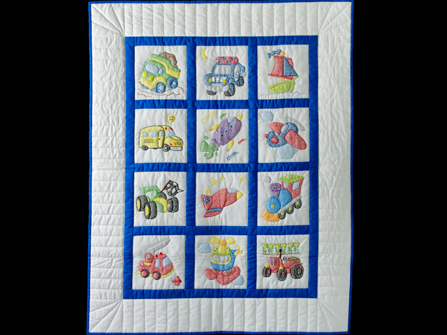 Hand Embroidered Transportation Crib Quilt Photo 1