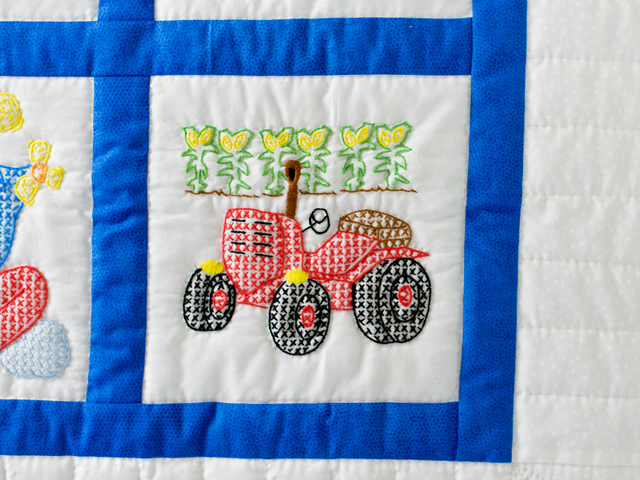 Hand Embroidered Transportation Crib Quilt Photo 5