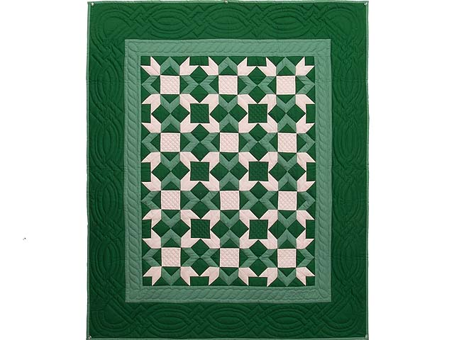 Indiana Amish Green and Cream Metathesis Quilt Photo 1