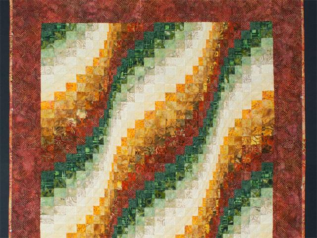 Bargello Falls   Brick/coral/green/cream - all batiks Photo 2