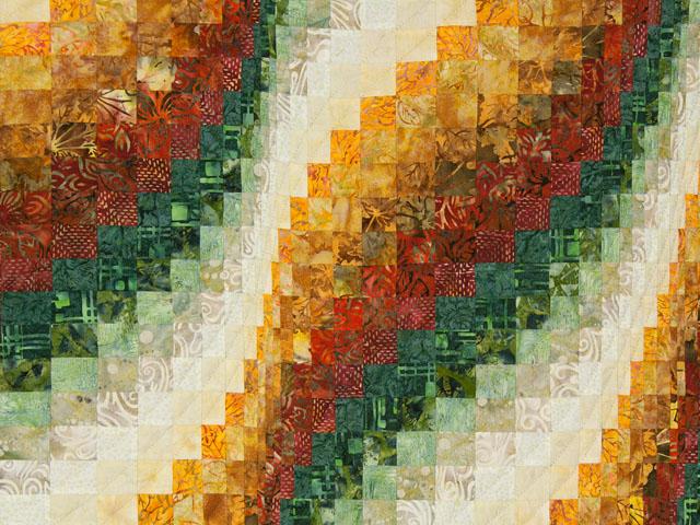 Bargello Falls   Brick/coral/green/cream - all batiks Photo 3
