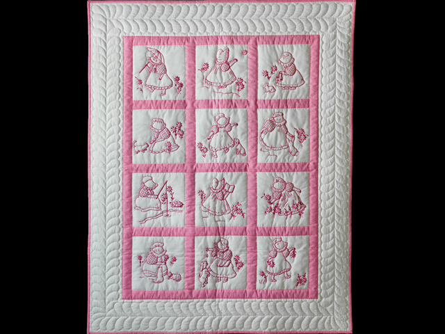 Princess Pink and White Hand Embroidered Crib Quilt Photo 1