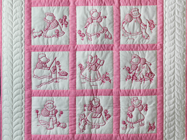Princess Pink and White Hand Embroidered Crib Quilt Photo 2