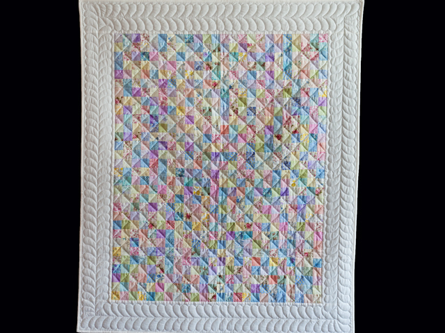 Pastel and White Hit or Miss Crib Quilt Photo 1