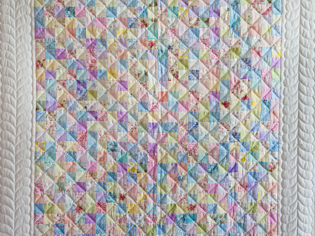 Pastel and White Hit or Miss Crib Quilt Photo 2