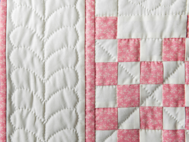 Rose and Natural Cream Irish Chain Quilt Photo 4