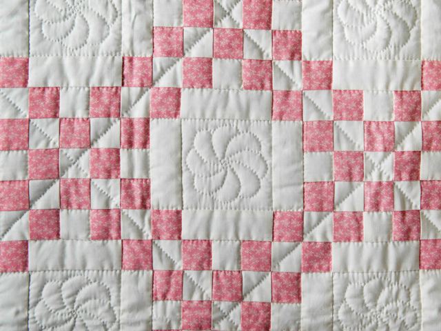 Rose and Natural Cream Irish Chain Quilt Photo 5
