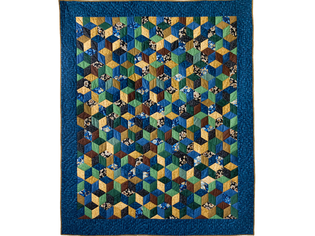 Blue and Brown Tumbling Blocks Quilt Photo 1