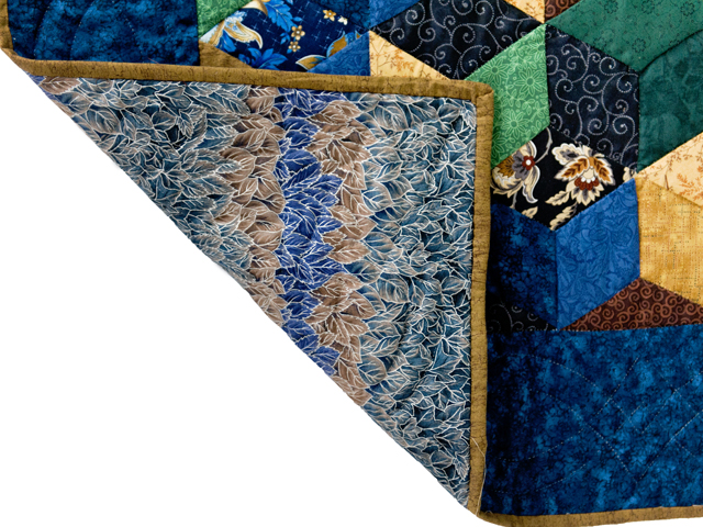 Blue and Brown Tumbling Blocks Quilt Photo 5