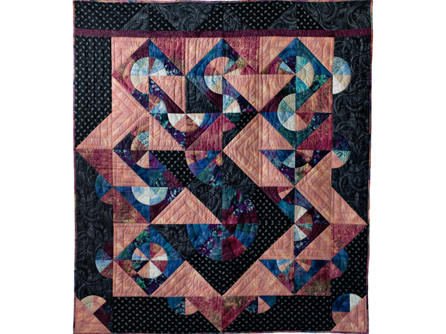 Rose, Mauve and Black Pinwheel Puzzle Quilt Photo 1