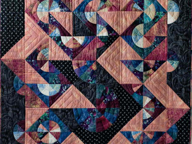 Rose, Mauve and Black Pinwheel Puzzle Quilt Photo 2
