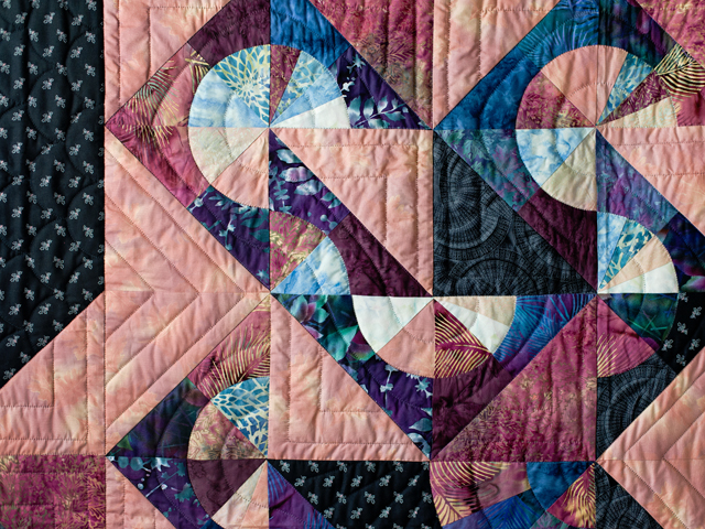 Rose, Mauve and Black Pinwheel Puzzle Quilt Photo 3