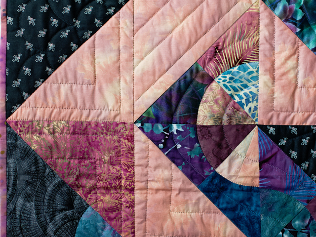 Rose, Mauve and Black Pinwheel Puzzle Quilt Photo 4