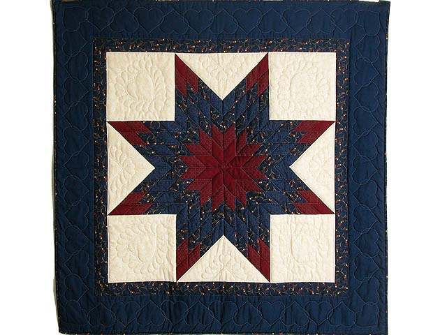 Navy and Burgundy Lone Star Quilt Photo 1