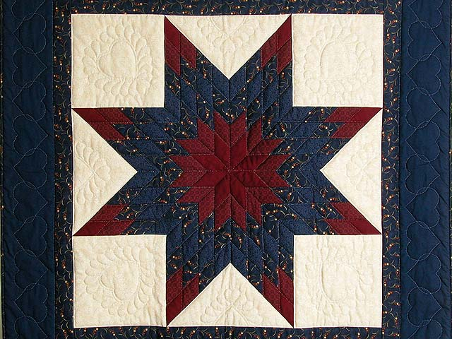 Navy and Burgundy Lone Star Quilt Photo 2