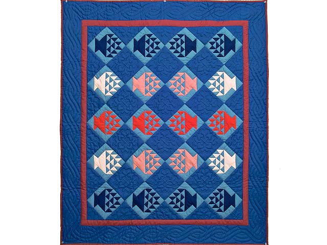 Indiana Amish Baskets in Blue Quilt Photo 1