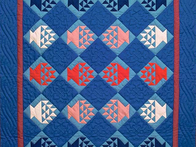 Indiana Amish Baskets in Blue Quilt Photo 2