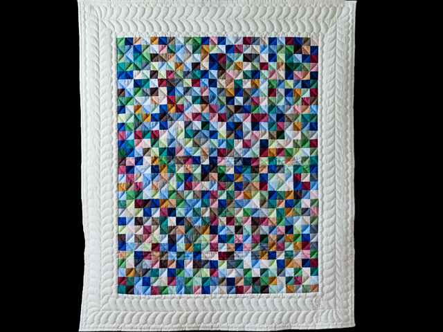 Indiana Amish Multi & Natural Hit or Miss Quilt Photo 1
