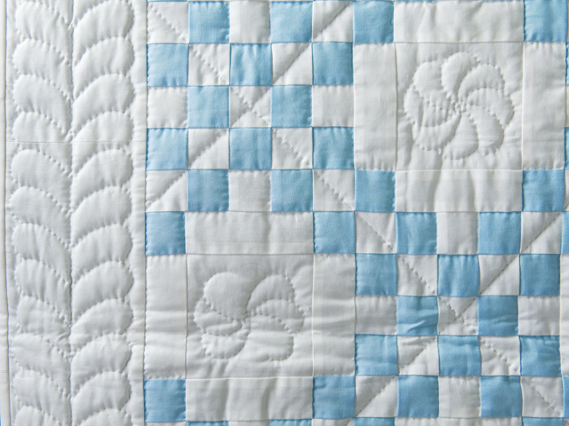 Lake Blue and White Irish Chain Quilt Photo 4