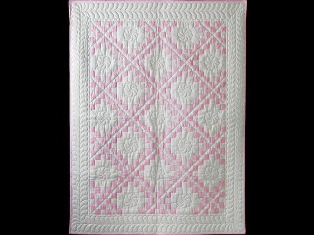Petal Pink and White Irish Chain Quilt Photo 1