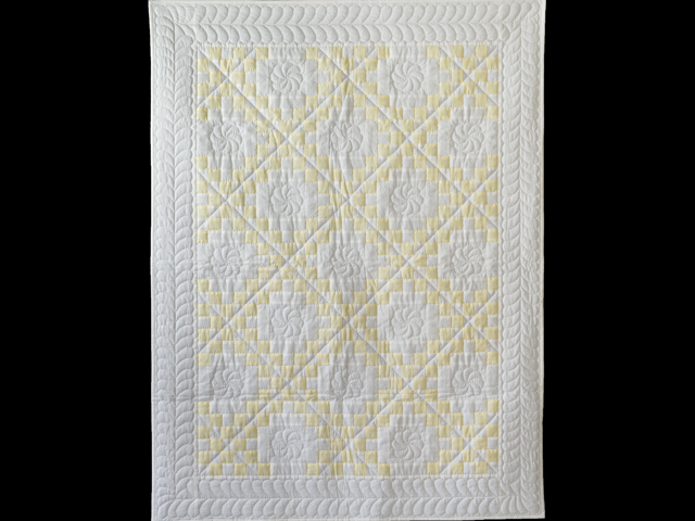 Lovely Yellow and White Irish Chain Quilt Photo 1