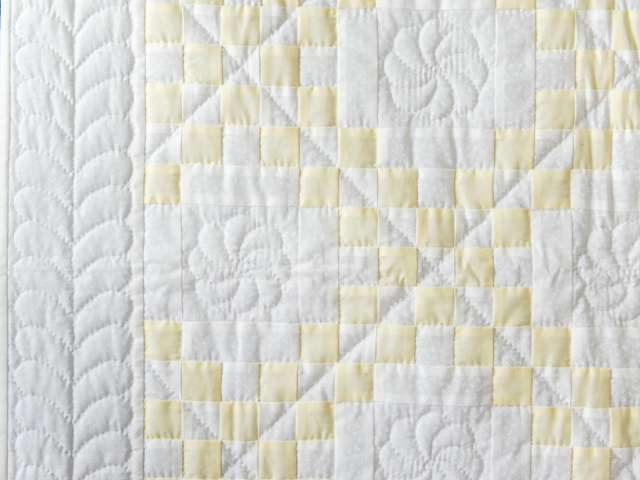 Lovely Yellow and White Irish Chain Quilt Photo 3