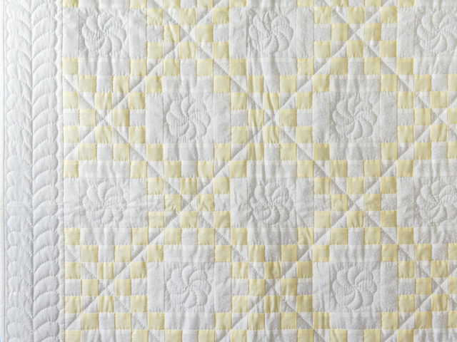 Lovely Yellow and White Irish Chain Quilt Photo 5