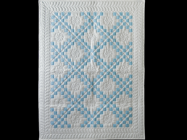 Lake Blue and White Irish Chain Quilt Photo 1