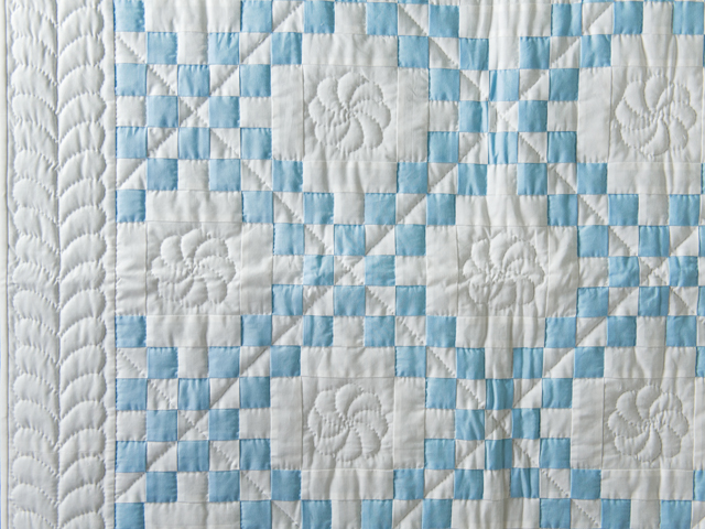 Lake Blue and White Irish Chain Quilt Photo 3