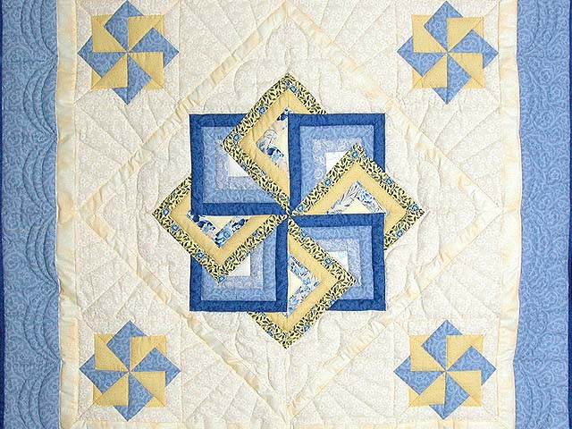 Blue and Yellow Star Spin Wall Hanging Photo 2