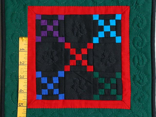 Mini Green and Red Double Nine Patch Quilt Photo 2