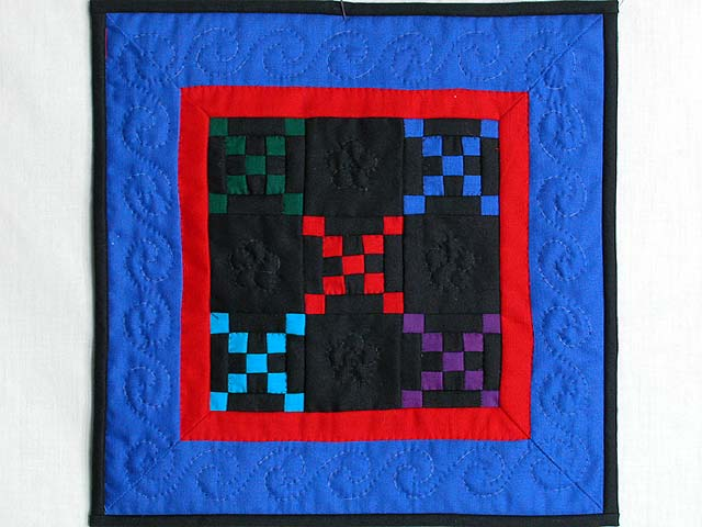 Mini Blue and Red Double Nine Patch Quilt Photo 1
