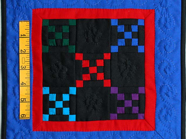 Mini Blue and Red Double Nine Patch Quilt Photo 2
