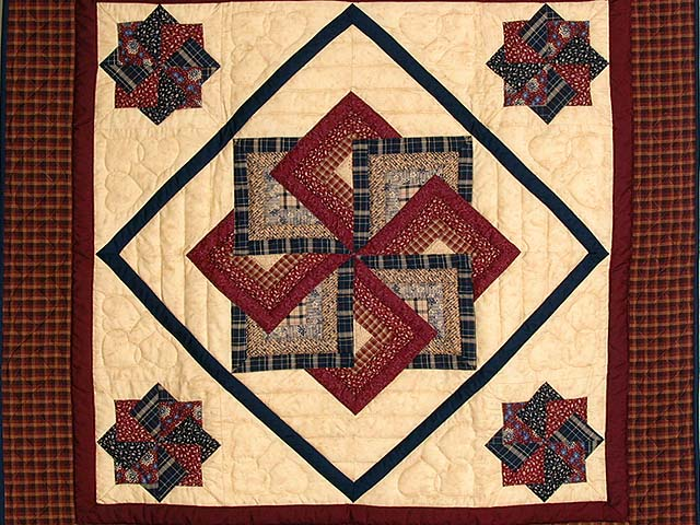 Burgundy Navy and Tan Star Spin Wall Hanging Photo 2