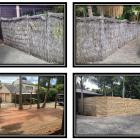 Removal of brustic fence, new deck around existing trees, double-sided fence and gate