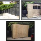 Bespoke garden shed built into retaining wall