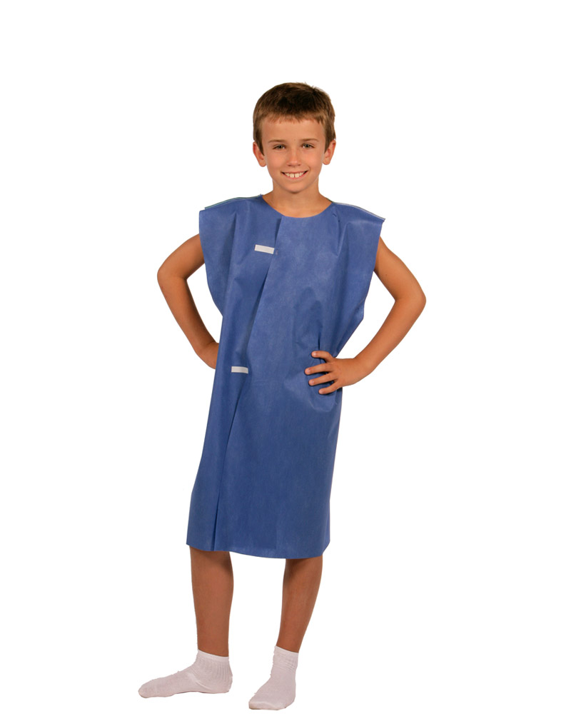 980830 Tidi Products, Gown Pediatric Exam Blue, T/P/T